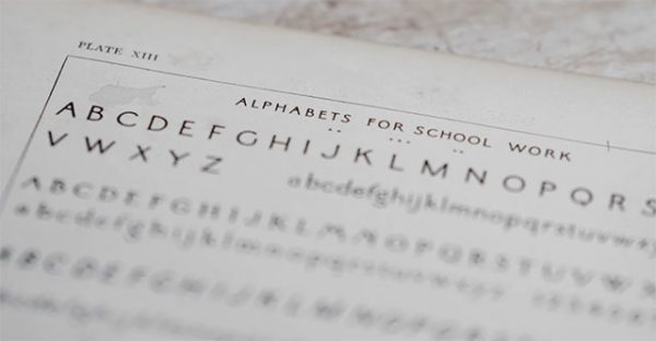 alphabets for school work on table